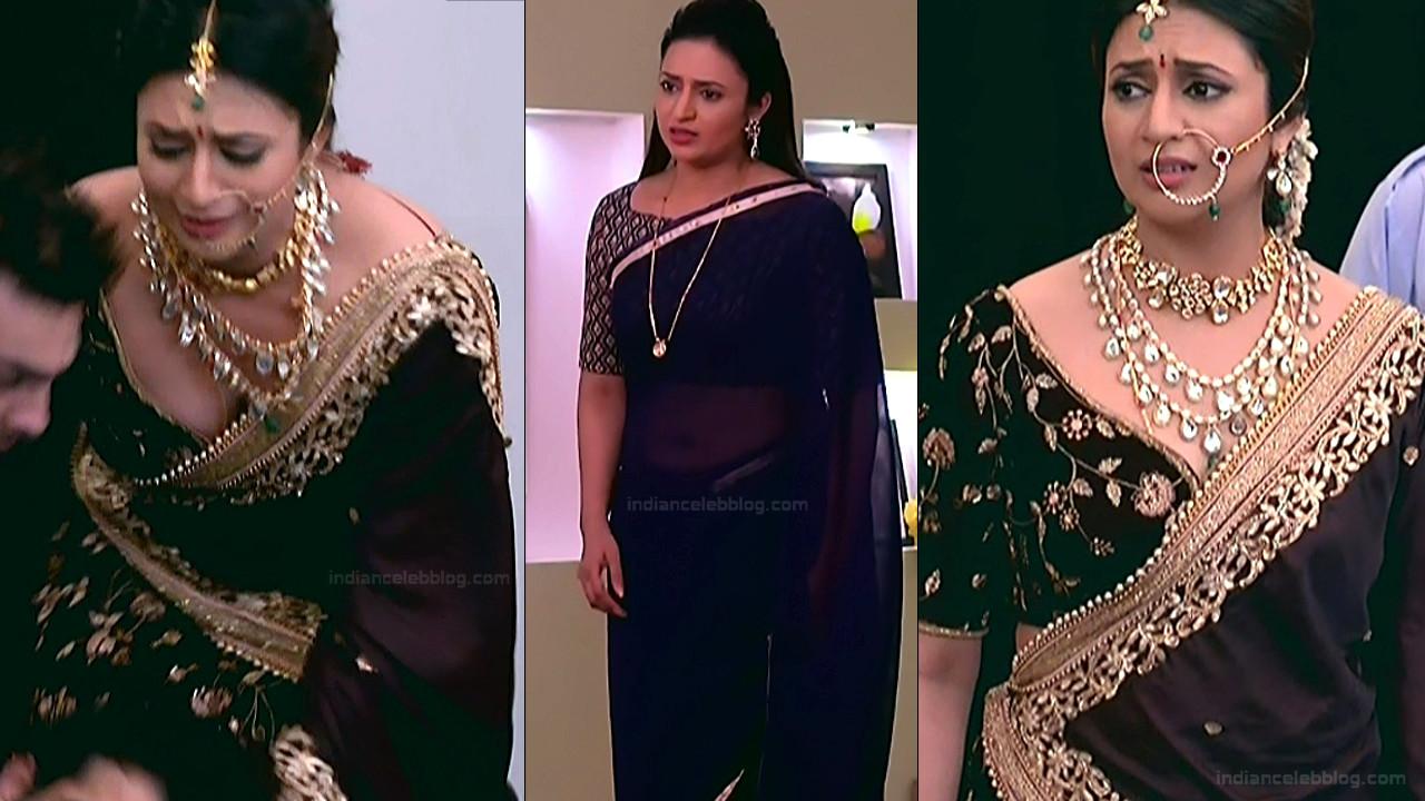 Divyanka Tripathi sexy cleavage n navel show HD tv caps