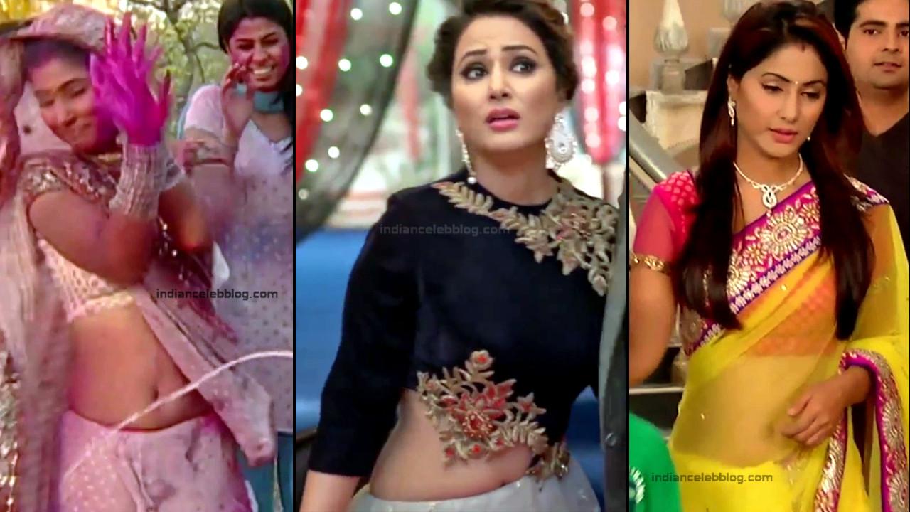 Hina khan hot sari navel show hindi tv caps