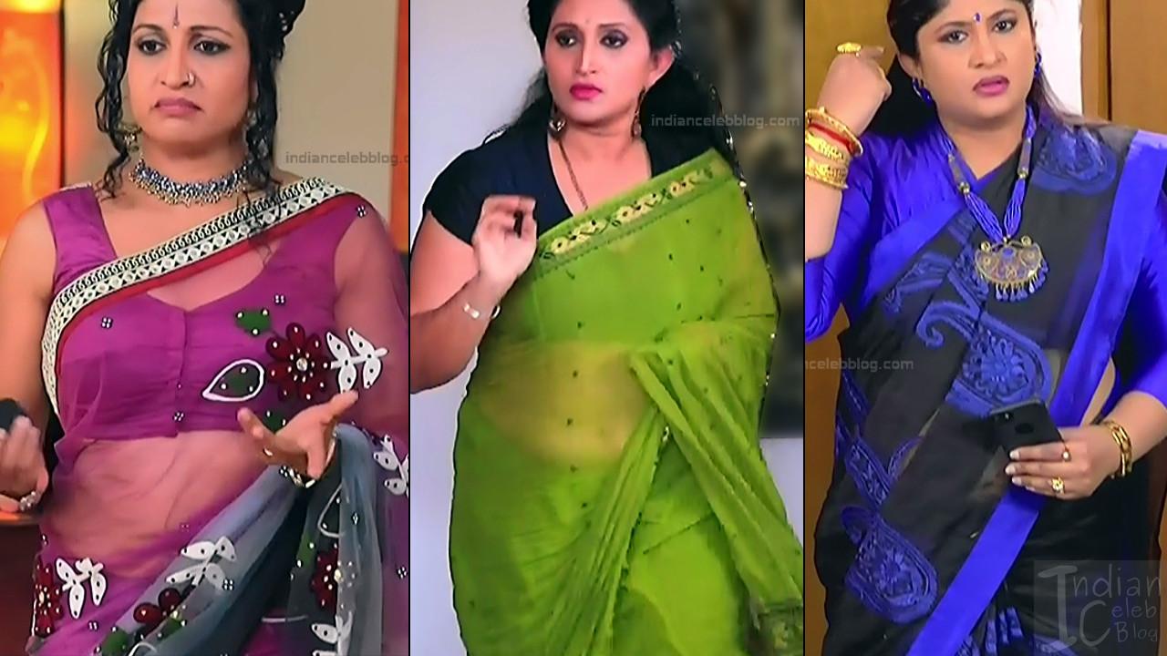 Kannada TV serial actress Transparent saree caps Mix