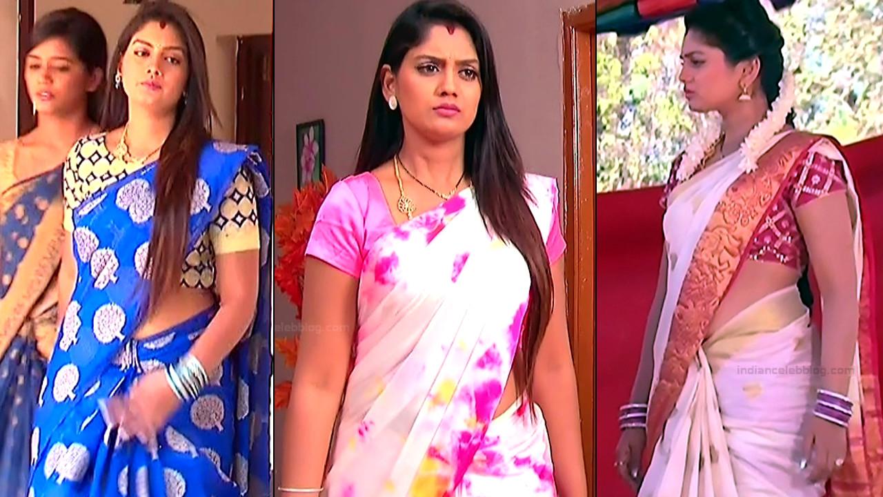 Karuna telugu tv serial actress caps in sari