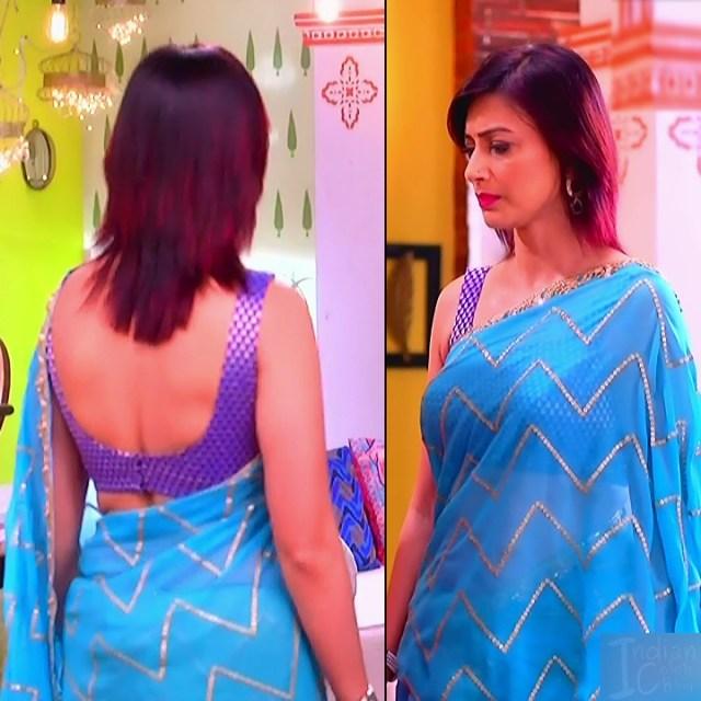Gauri Pradhan Hindi TV actress TuAS7 Hot backless sari pics