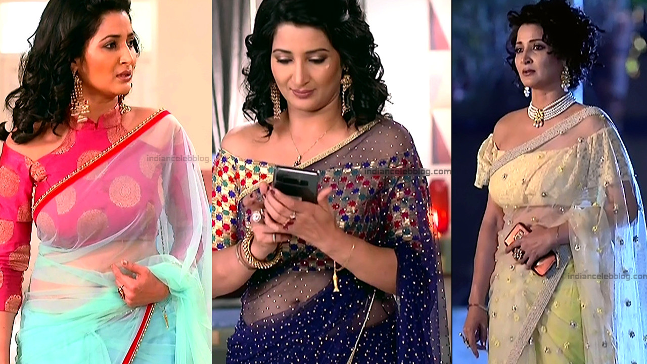 Sonica Handa hot low waist saree navel show TV caps