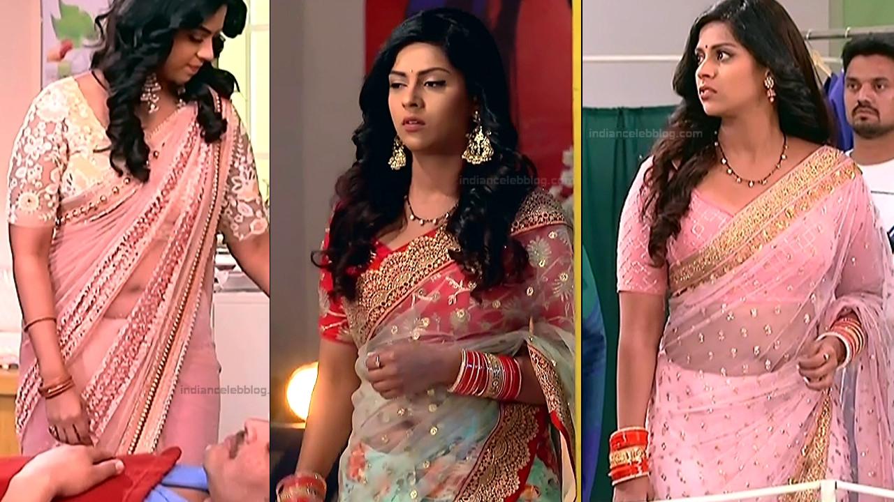 Swarda Thigale navel show in see throug saree tv caps hd