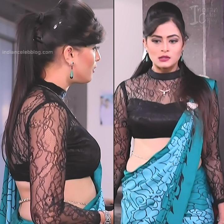 Veena Ponnappa Hot Low Waist Saree Show Kannada Tv Caps