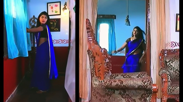 Kannada TV serial actress Bili HS1 4 hot saree caps