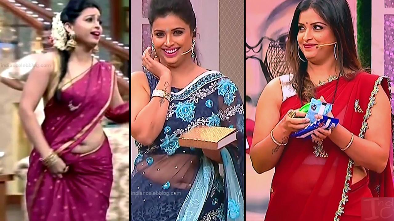 Shwetha Chengappa sexy saree navel show hd tv caps