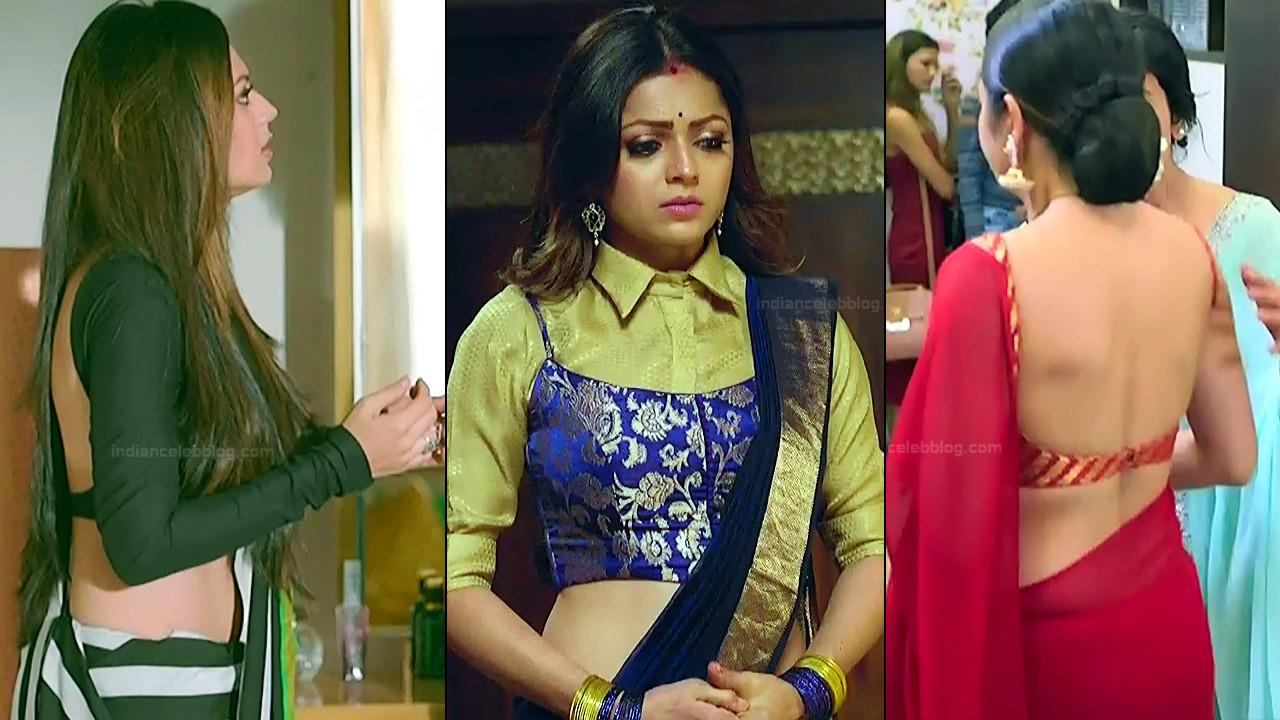 Drashti Dhami sexy backless blouse saree HD hindi tv caps