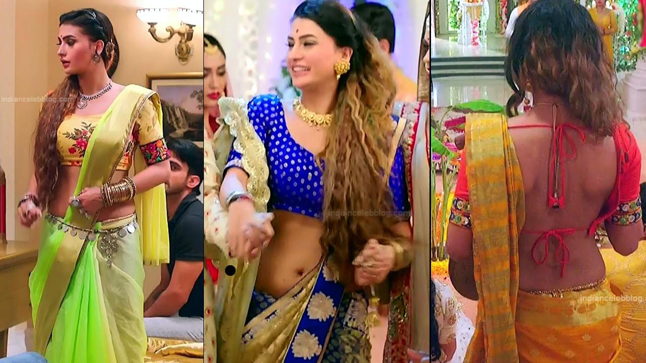 Pavitra Punia hot saree navel caps from Naagin 3