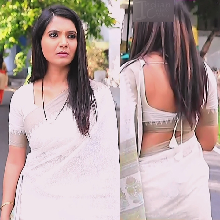 Shwetha R Prasad Kannada TV actress Radha RS1 1 Saree pics