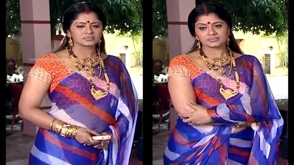 Sudha Chandran hot transparent sari navel show | Indian