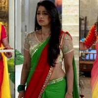 Chandni Bhagwanani sexy midriff n cleavage show in sari