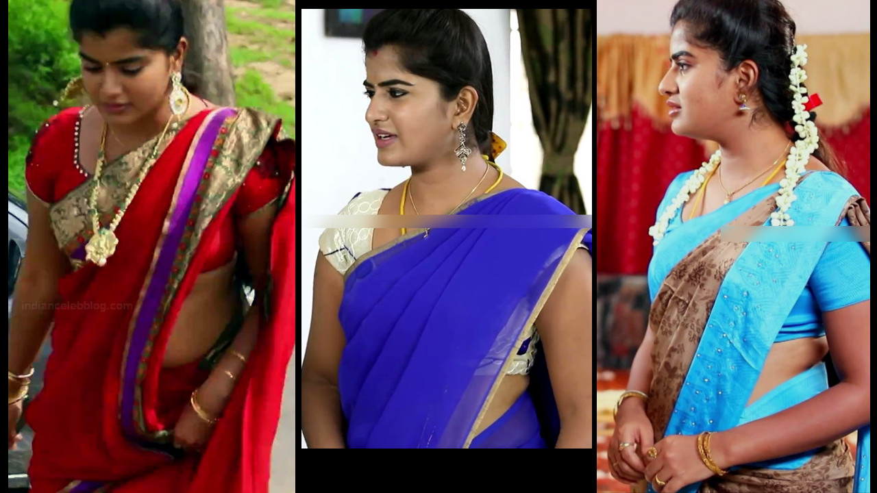 Keerthana podwal Tamil tv serial Ganga hot saree Caps