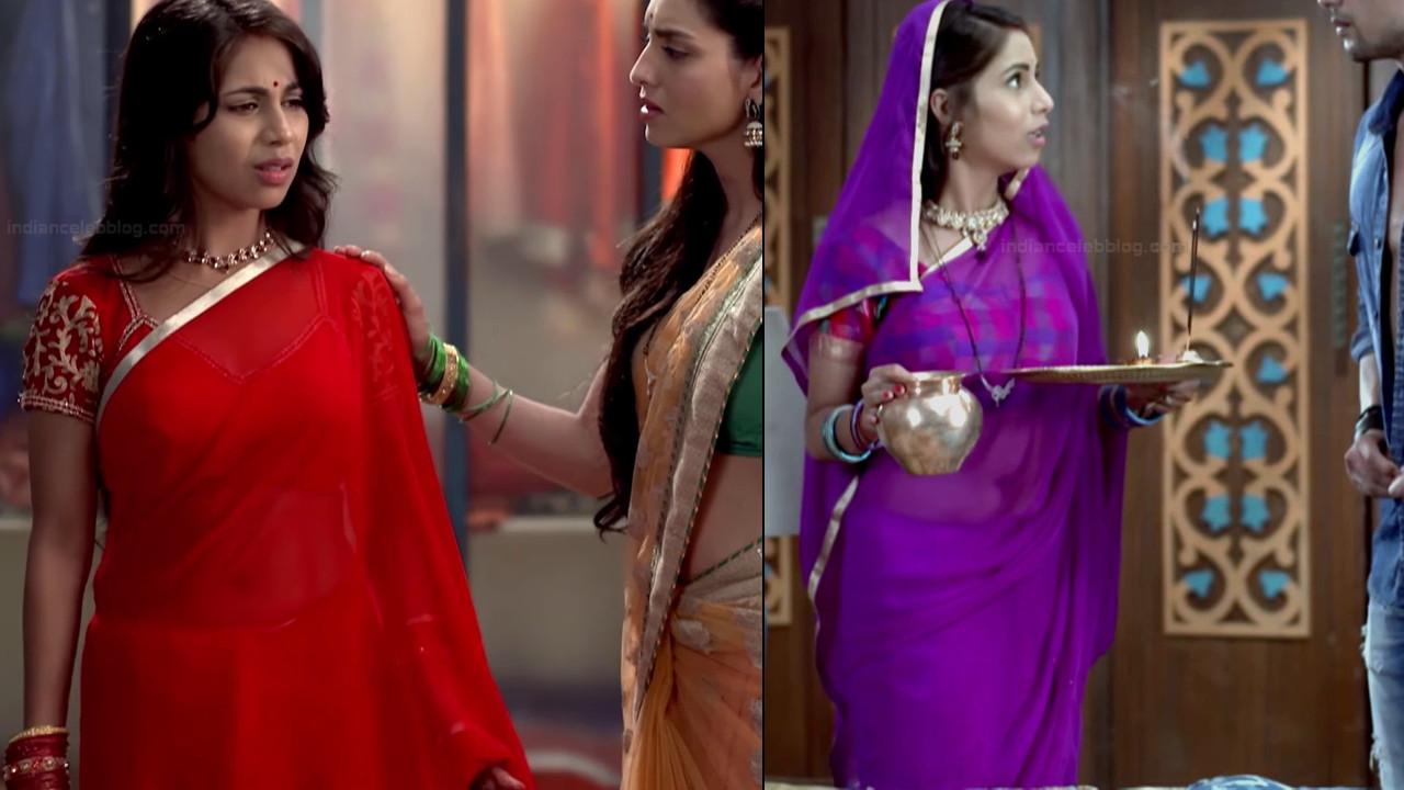 Veebha Anand navel show in transparent saree hindi tv caps