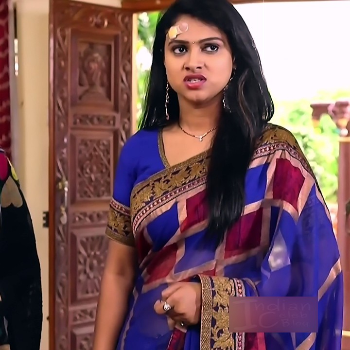 Kavitha tamil tv actress Neeli S1 1 hot saree caps