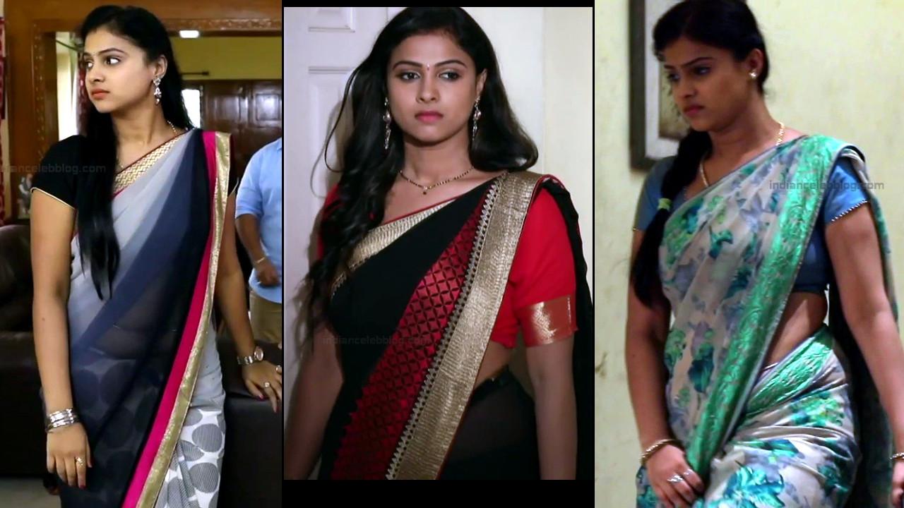 Kavitha gowda Tamil TV hot Saree Caps from Neeli serial