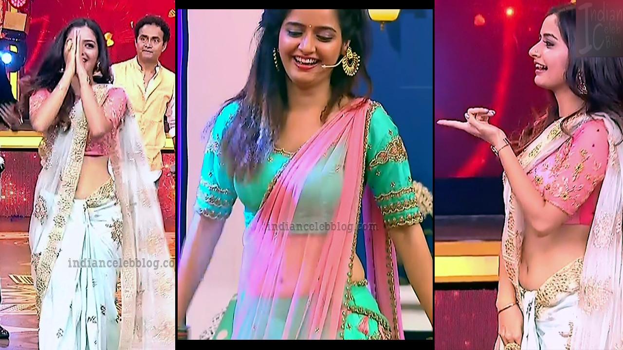 Ashika ranganath sexy navel show caps from Kannada tv event