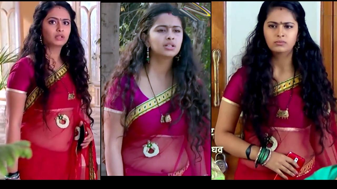 Avika Gor transparent sari navel show, hindi tv hd caps