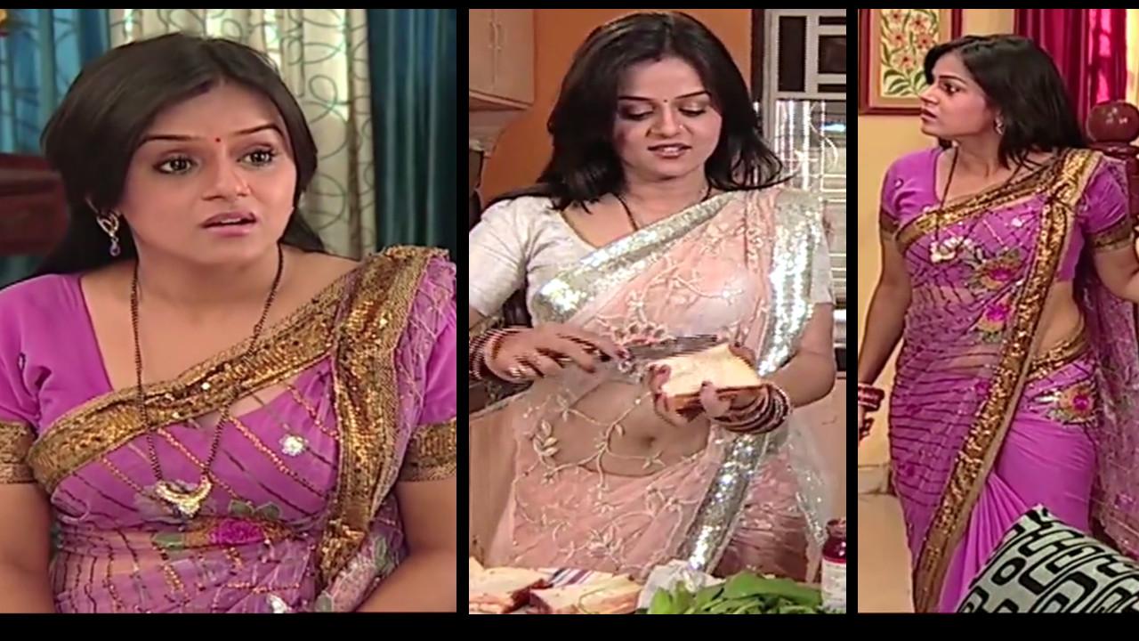 Jayshree Soni hot navel show in see through saree hindi tv caps