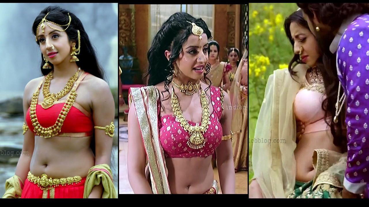 Sanjana Galrani hot caps from Swarna Khadgam Telugu TV serial