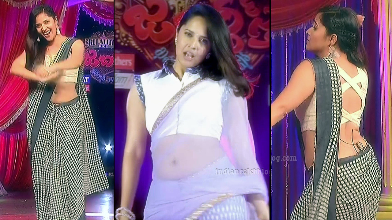 Anasuya Bharadwaj hot low waist saree caps from Jabardasth