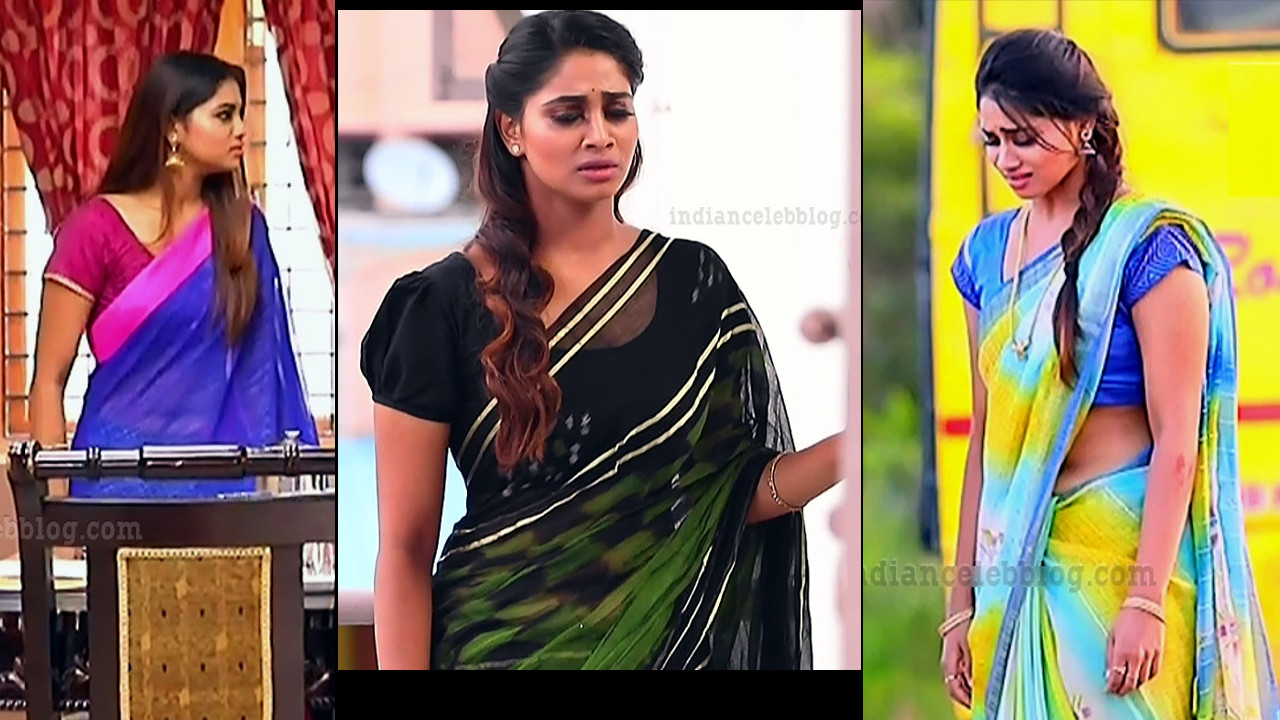 Shivani Narayanan Tamil TV serial Pagal nilavu hot saree caps