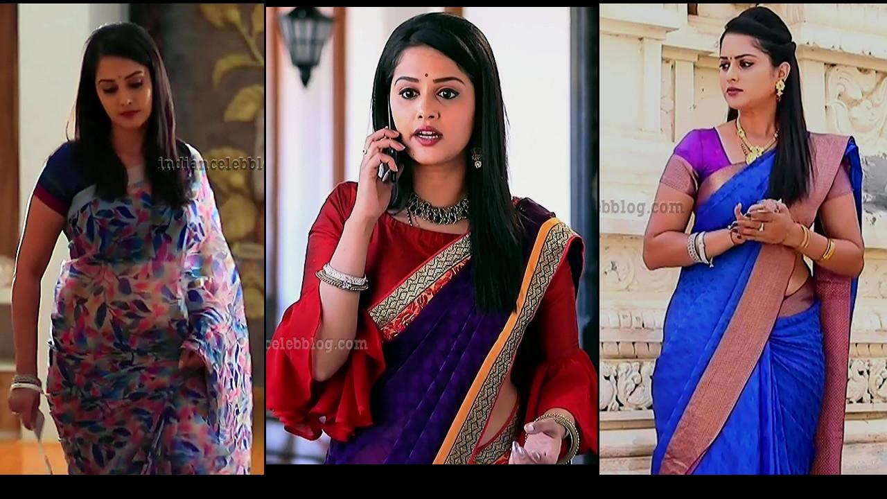 Neetha Ashok Kannada TV actress Saree Caps