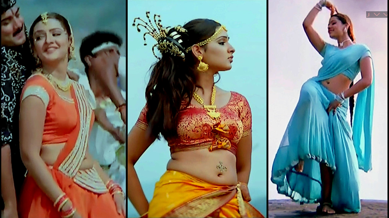Aarthi Agarwal hot navel show Nuvvu leka nenu lenu song caps