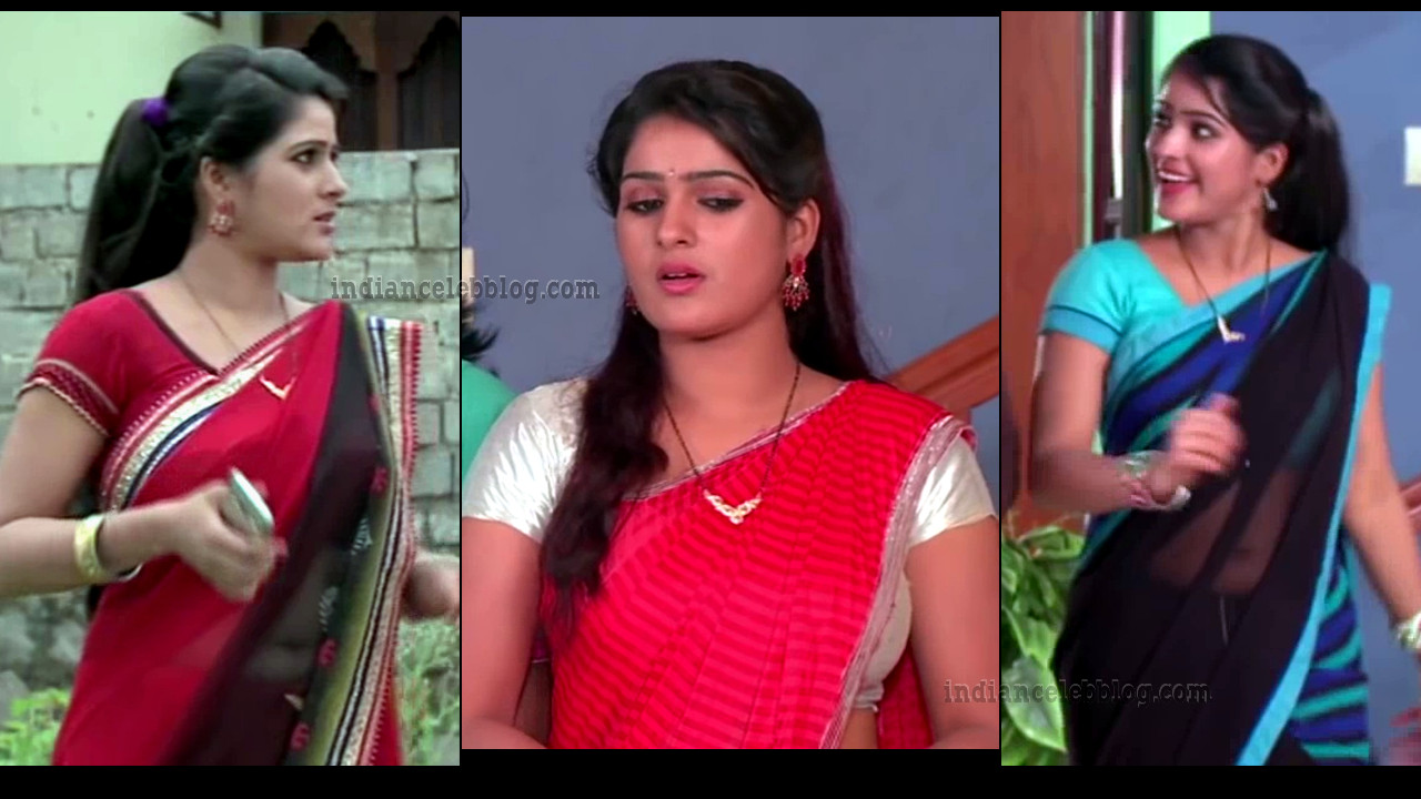 Monisha Nandhini vs nandini serial hot sari navel show HD caps