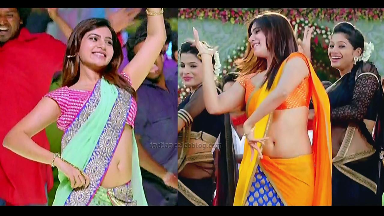 Samantha sexy sari navel show Rabhasa tollywood film