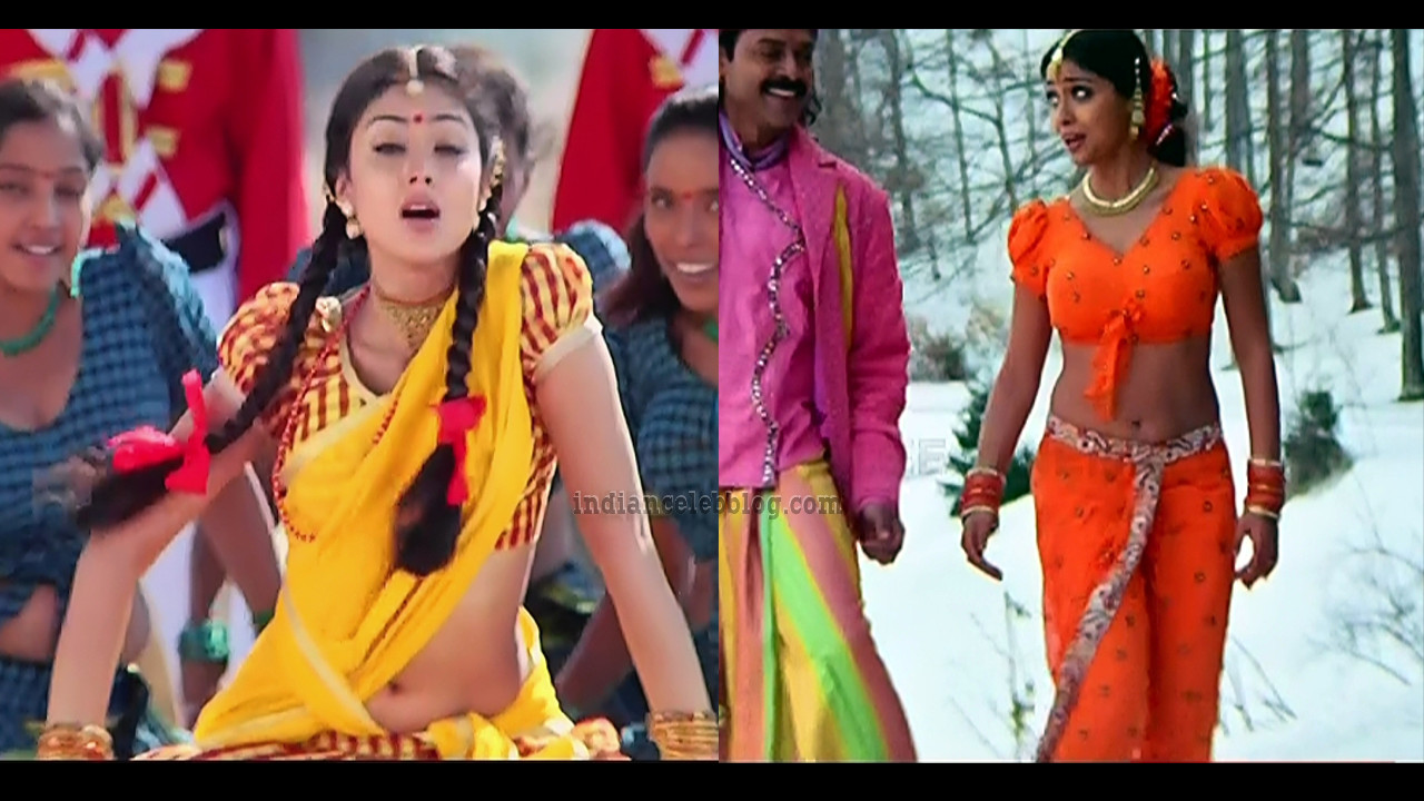 Shriya saran hot navel show Tollywood song caps