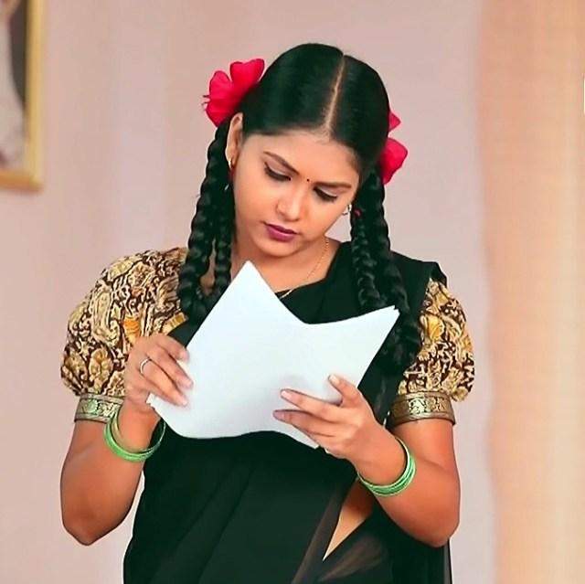 Amulya Gowda Kamali kannada serial S1 1 half sari pic