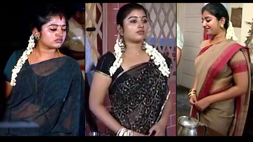 Mahalakshmi Tamil Serial Actress hot sari caps