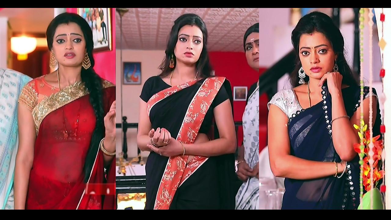 Sowmya rao nadig Tamil TV actress Caps in saree