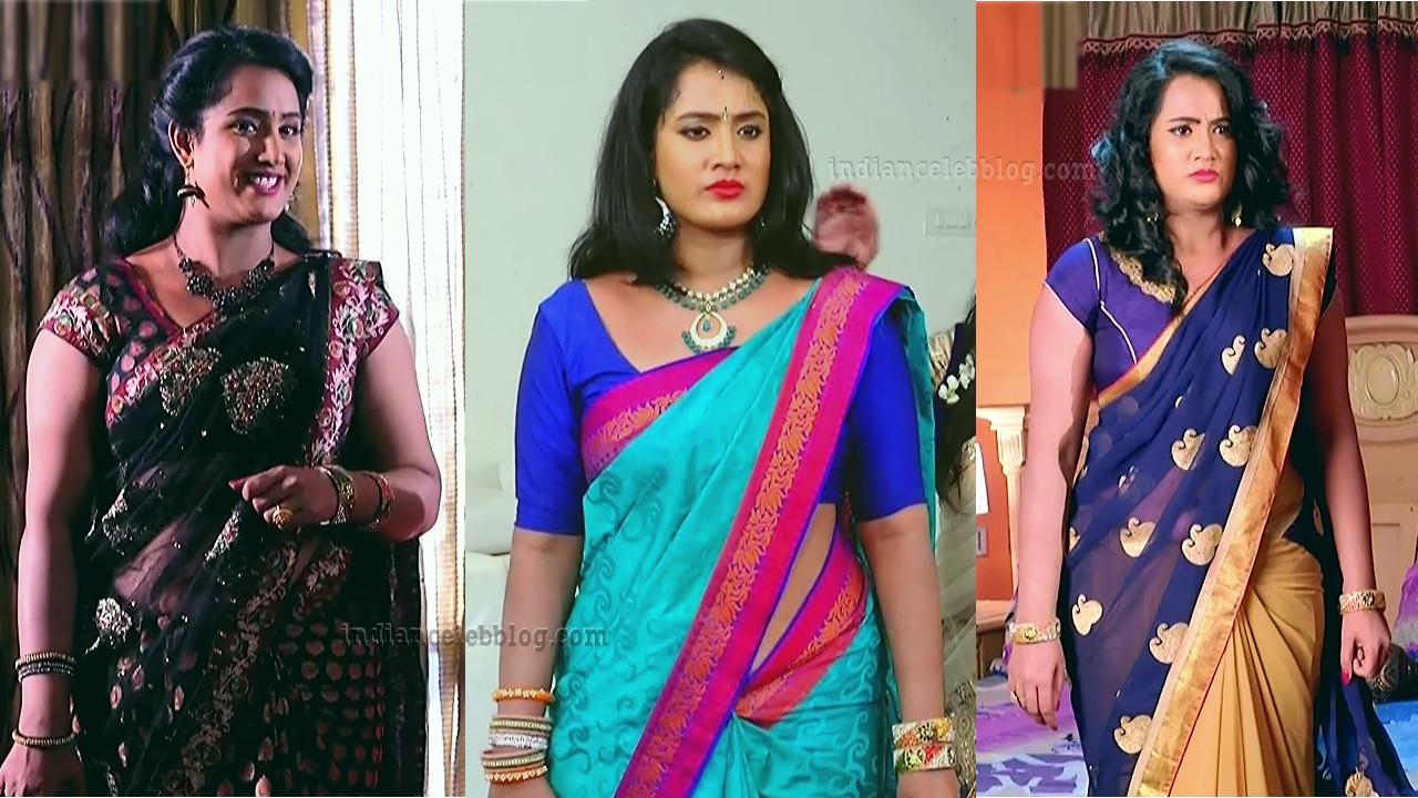 Sravani telugu tv actress sexy saree from Akka mogudu