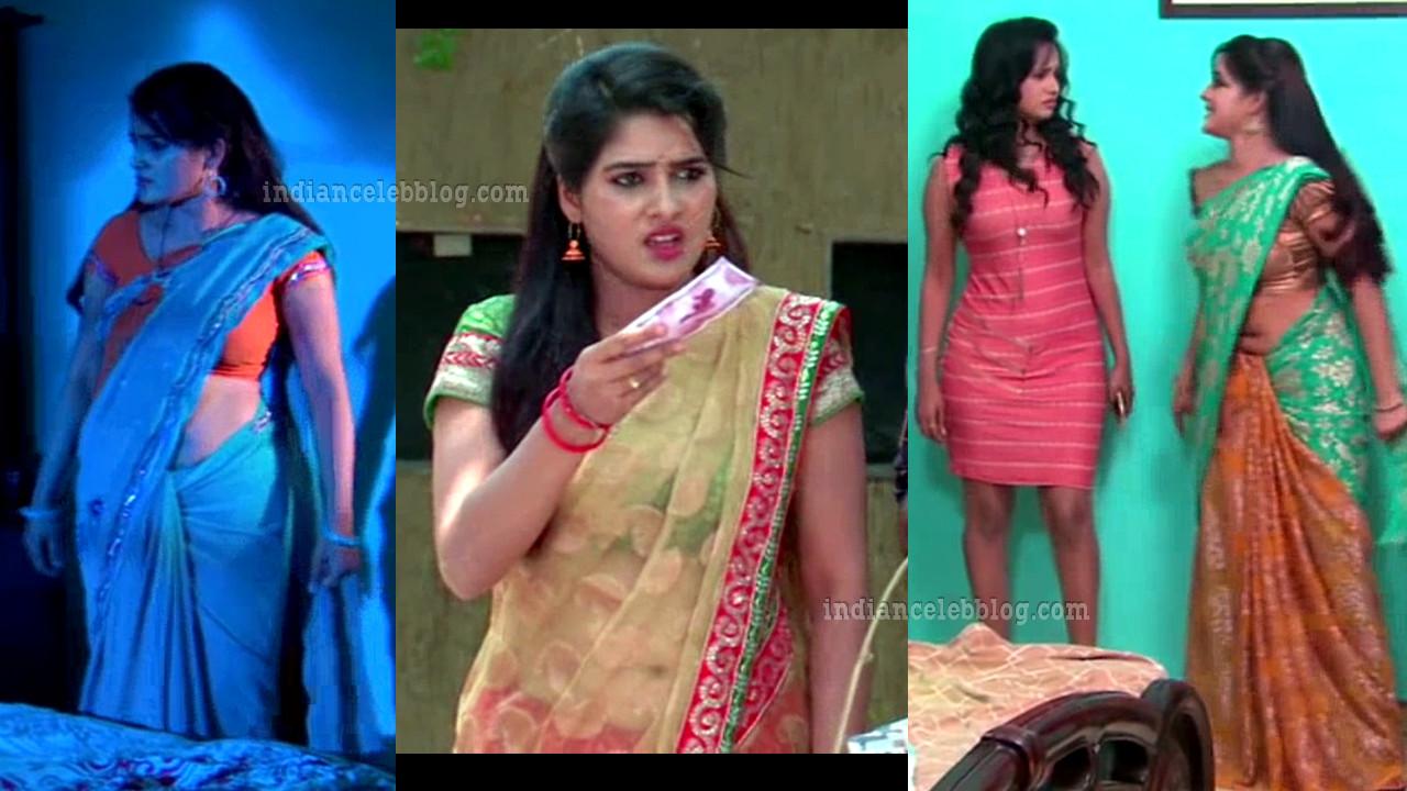 Monisha telugu serial actress hot saree caps