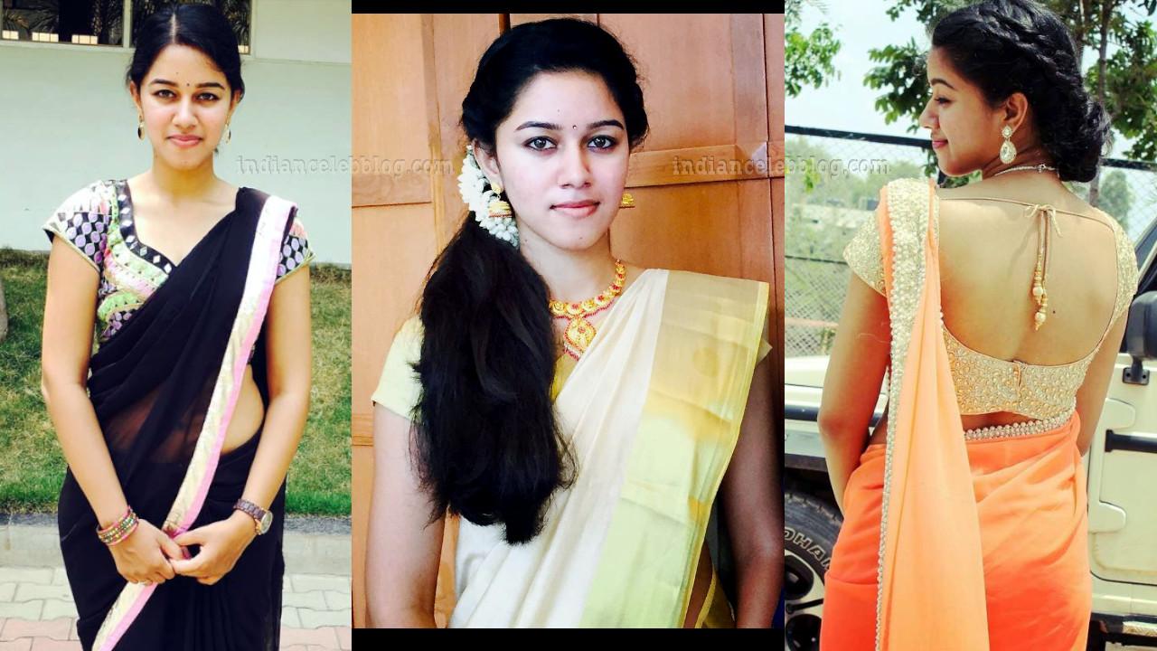 Mirnalini ravi Tamil film actress saree photos.