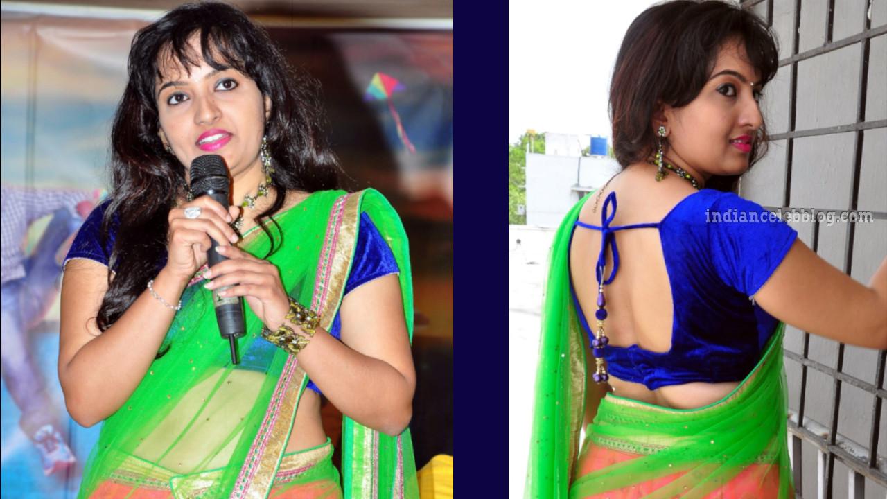 Roshini telugu actress event pics in transparent half saree