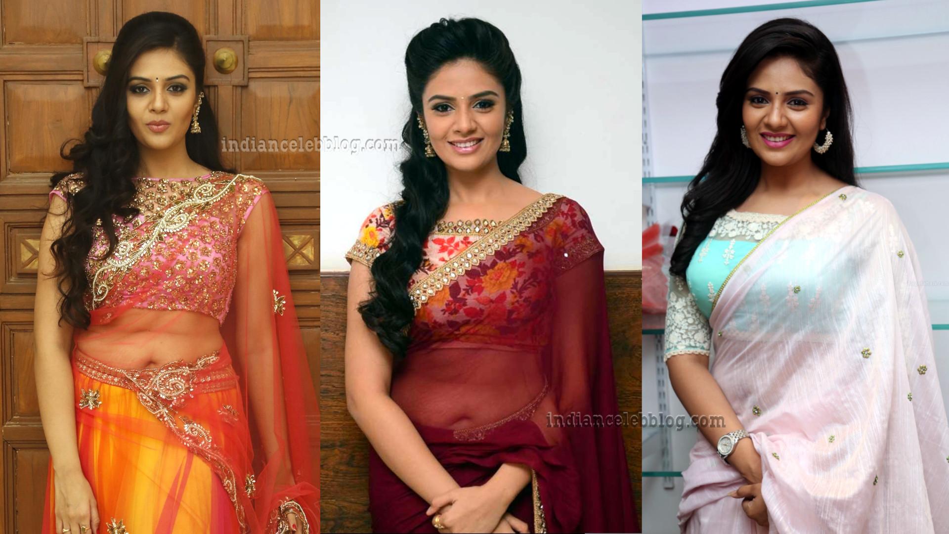 Sreemukhi Telugu TV Anchor transparent saree photos