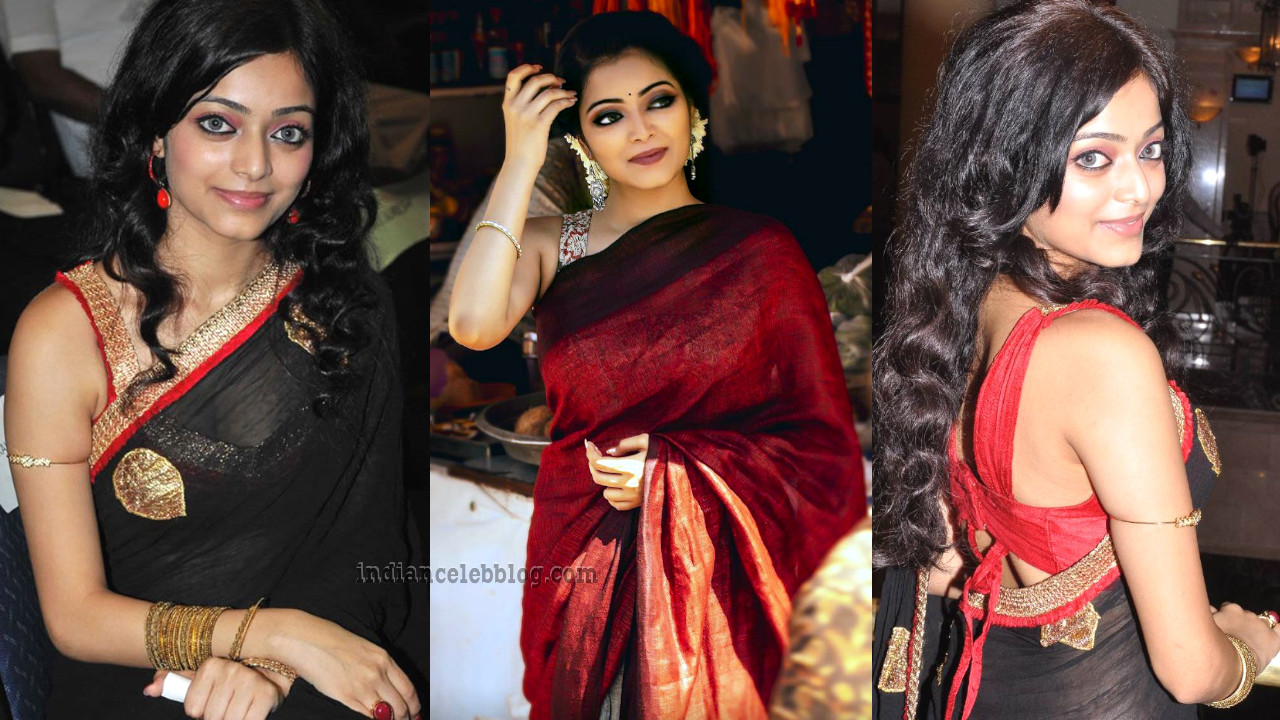 Janani iyer kollywood celeb hot sleeveless saree pics