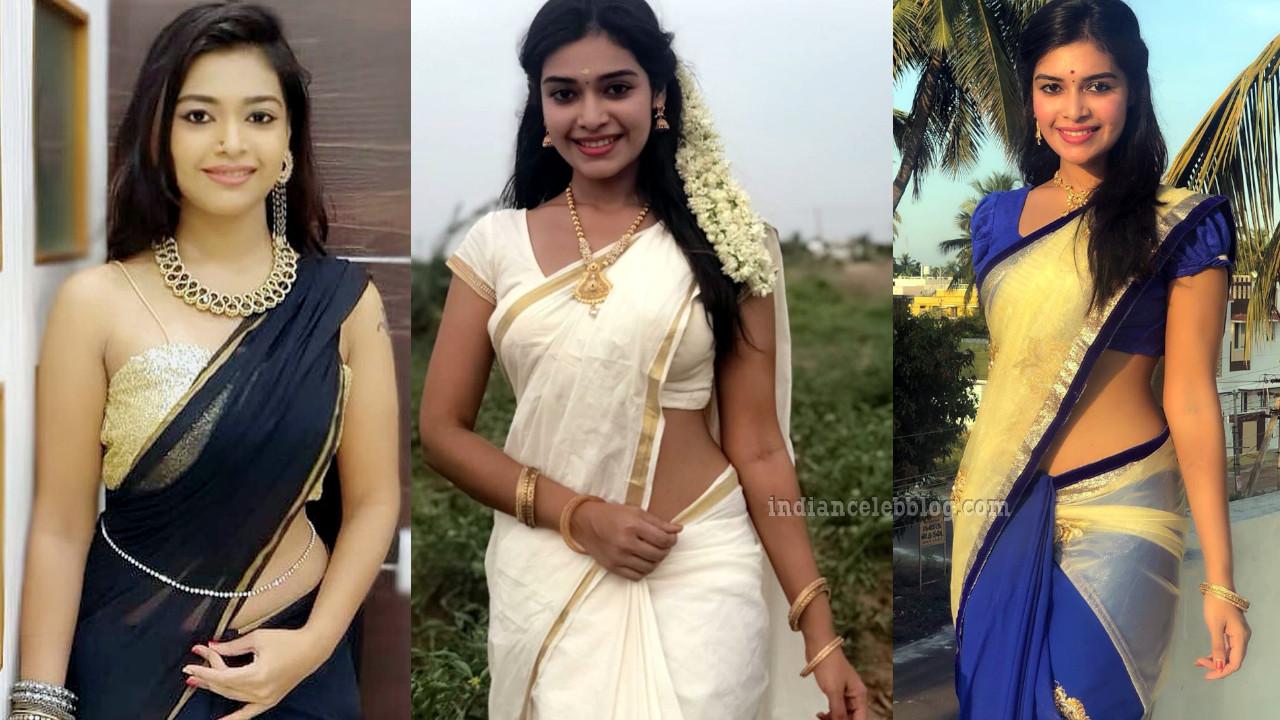 Dharsha gupta tamil tv actress glamorous sari photos