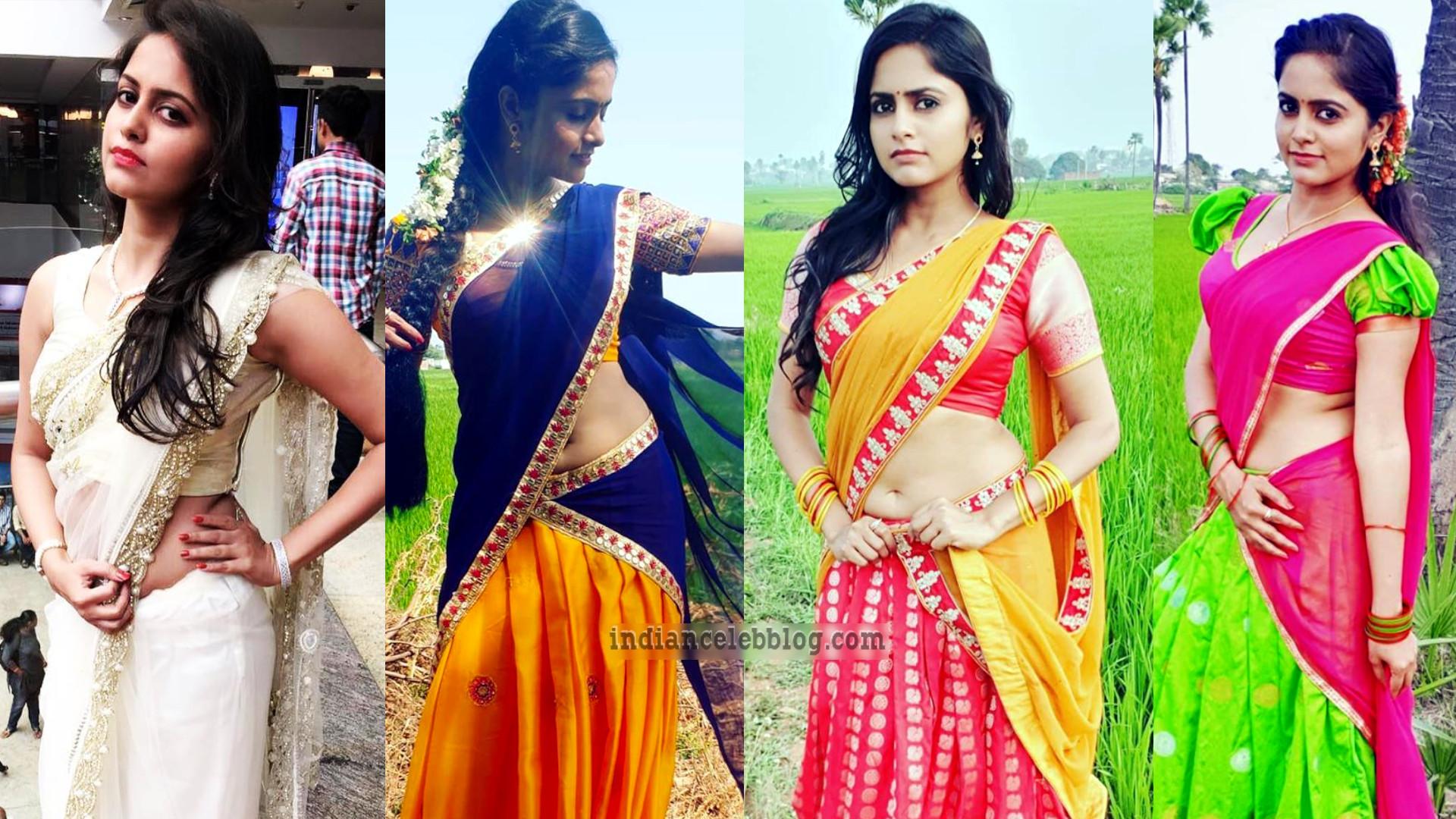 Pragya nayan kannada actress hot half saree photos