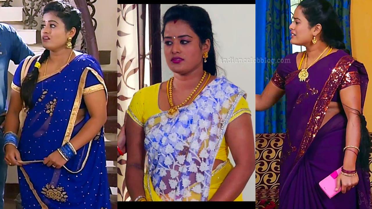 Priyanka Vamsam tamil serial actress hot saree caps