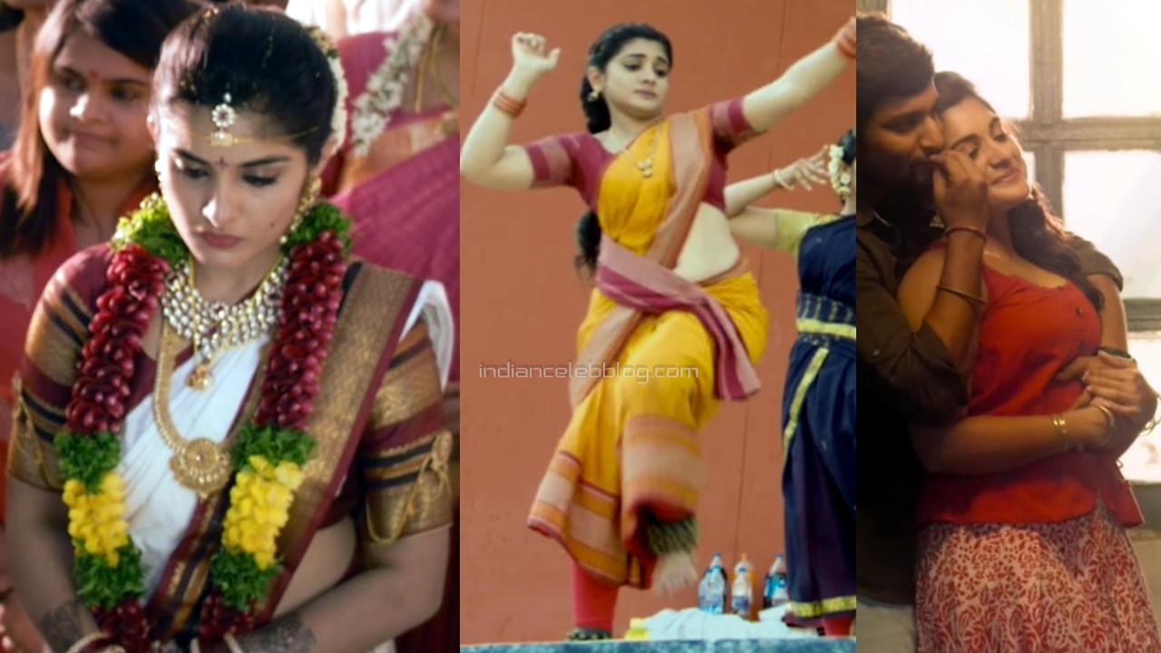 Nivetha thomas hot midriff show in sari hd caps