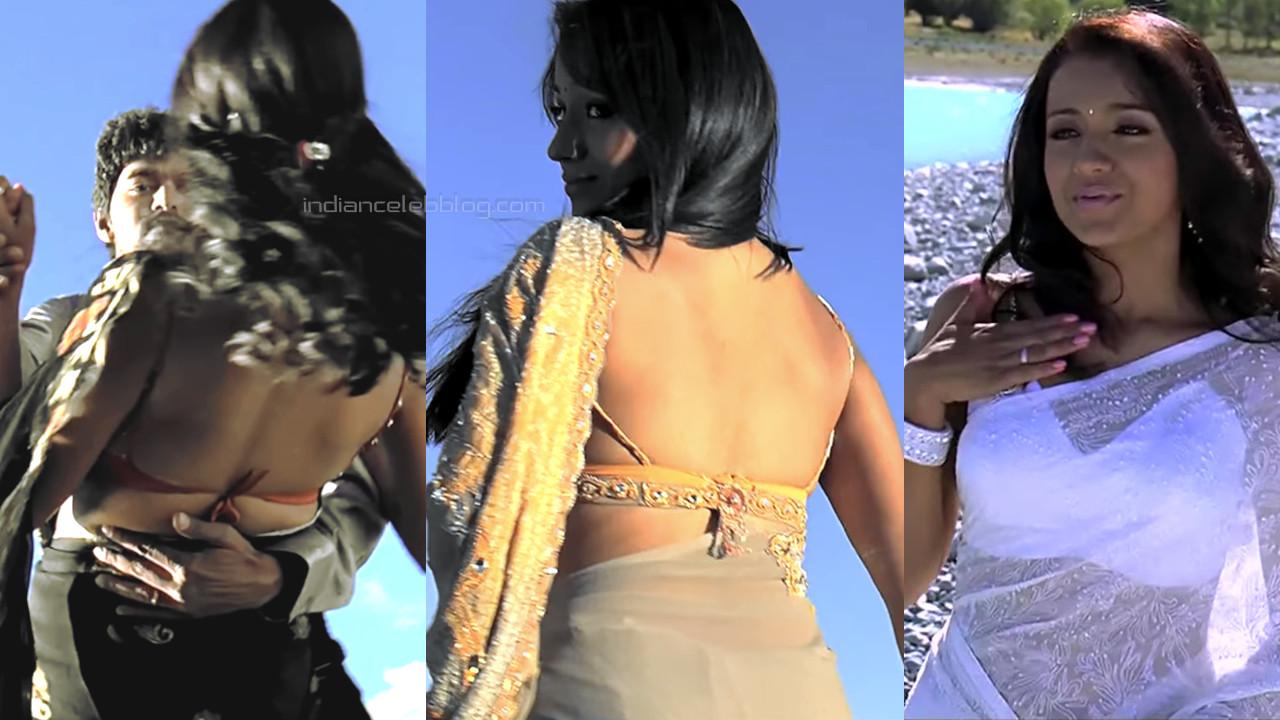 Trisha tamil actress sexy backless blouse saree pics hd caps