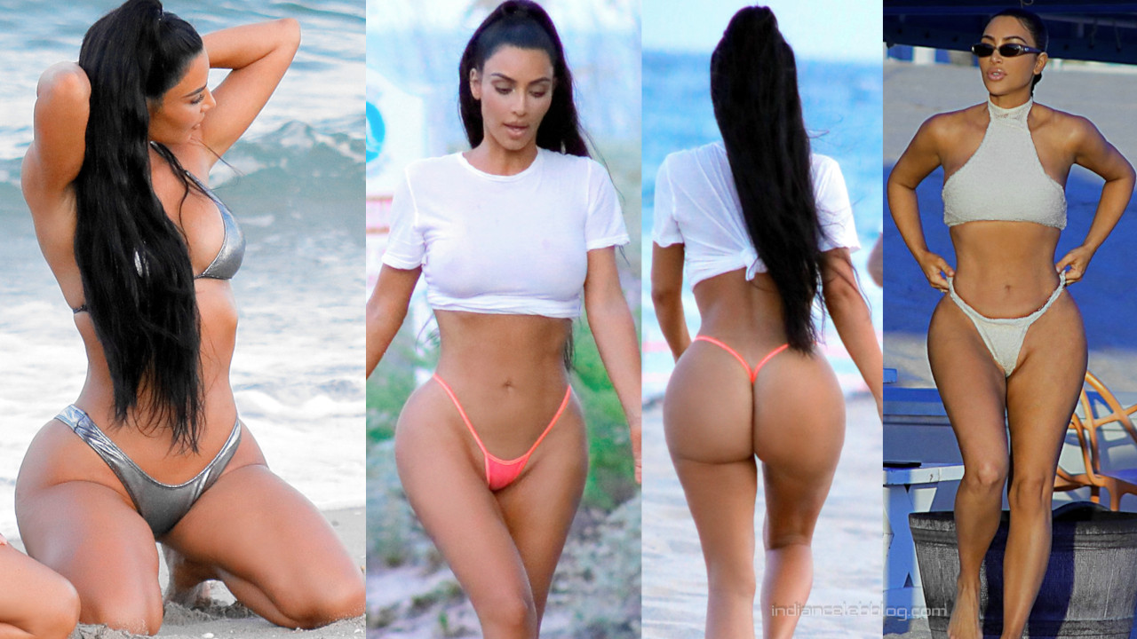 Kim kardashian sexy thong g string beach candid photos