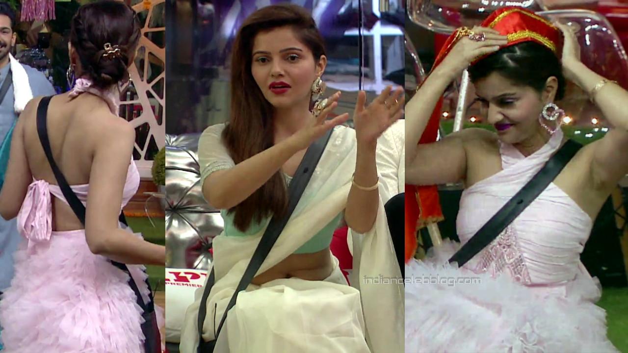 Rubina dilaik hindi tv reality show sleeveless gown hd caps pics.