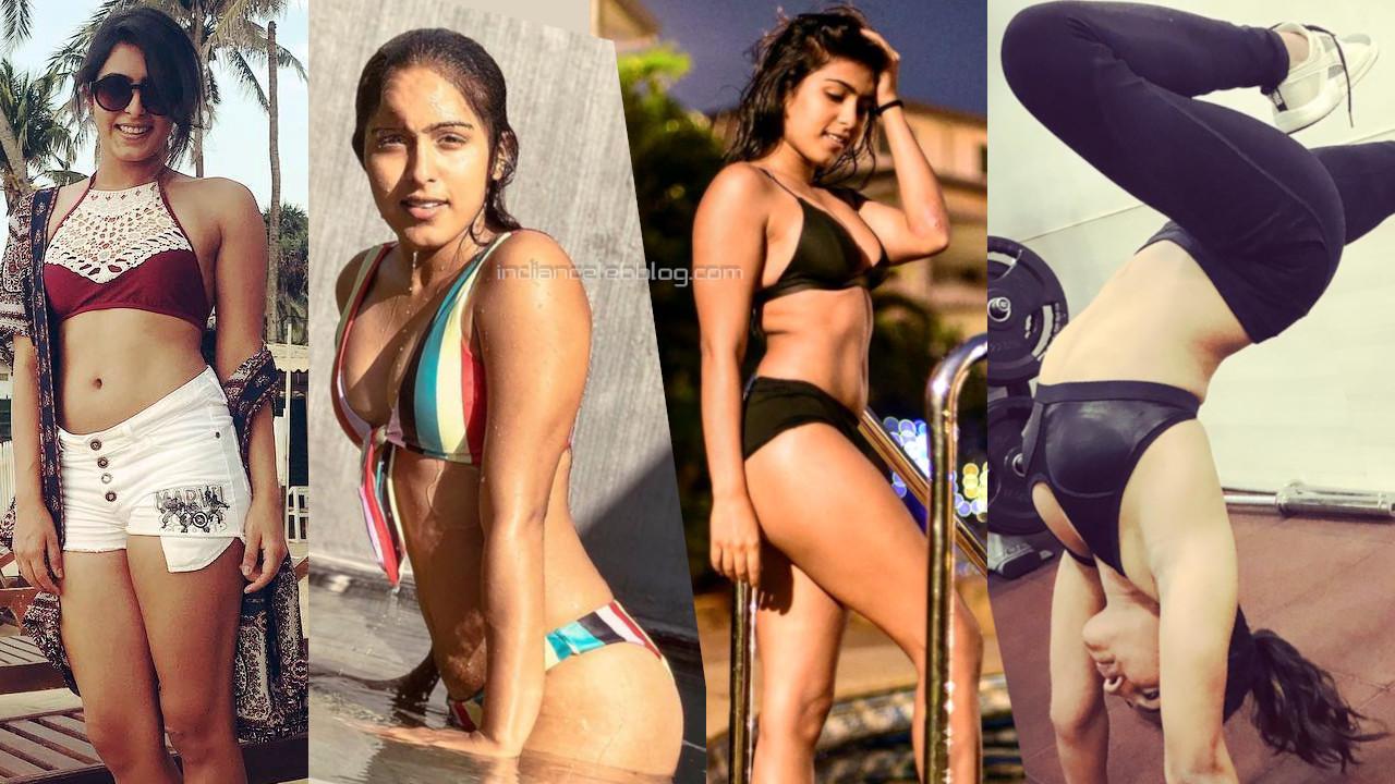 Samyuktha hedge hot bikini swimsuit and workout photos.
