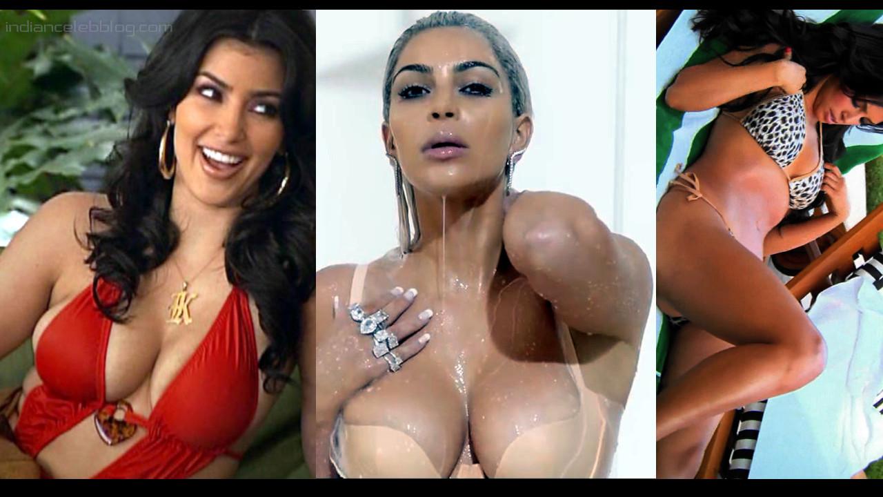 Kim kardashian hot sexy bikini lingerie cleavage photos gallery
