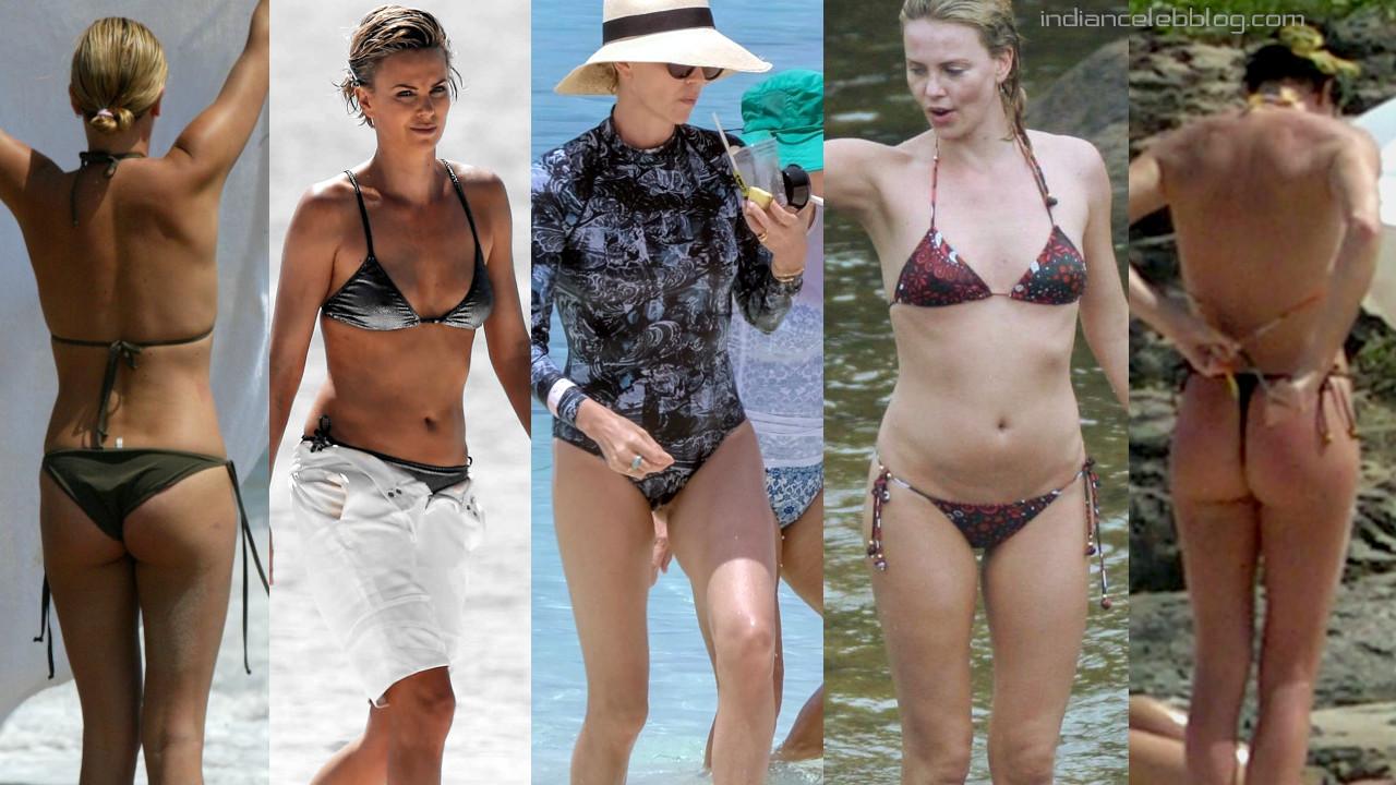 Charlize theron hollywood hot bikini beach paparazzi photos