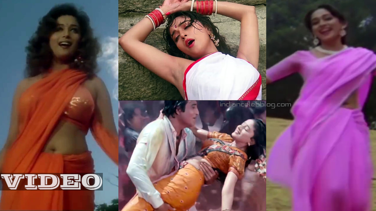 Madhuri dixit bollywood actress hot saree songs Video mix